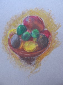 Oil Pastel Fruit Bowl