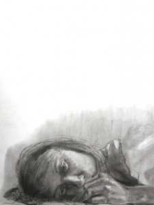 Insomnia, charcoal on drawing paper